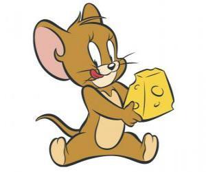 Пазл джерри едят вкусные кусок сыра